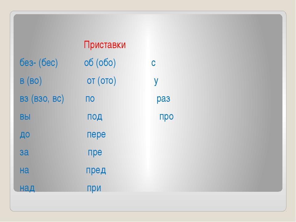 Приставки без- (бес) об (обо) с в (во) от (ото) у вз (взо, вс) по раз вы под...