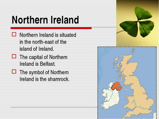 Northern Ireland Northern Ireland is situated in the north-east of the island...
