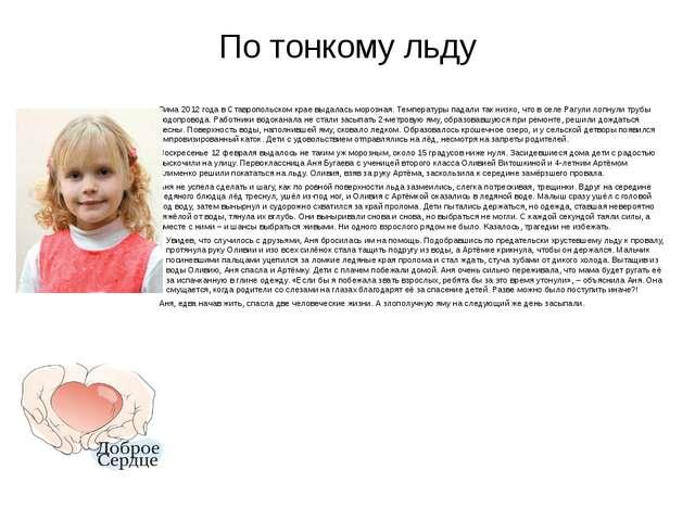 По тонкому льду Зима 2012 года в Ставропольском крае выдалась морозная. Темпе...