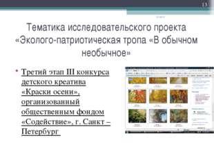 Тематика исследовательского проекта «Эколого-патриотическая тропа «В обычном