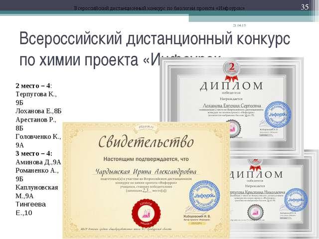 Всероссийский дистанционный конкурс по химии проекта «Инфоурок» * * Всероссий...