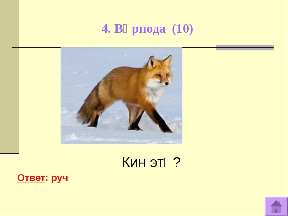 4. Вӧрпода (10) Кин этӧ? Ответ: руч