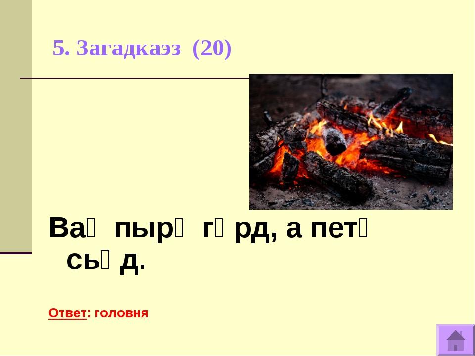 5. Загадкаэз (20) Ваӧ пырӧ гӧрд, а петӧ сьӧд. Ответ: головня