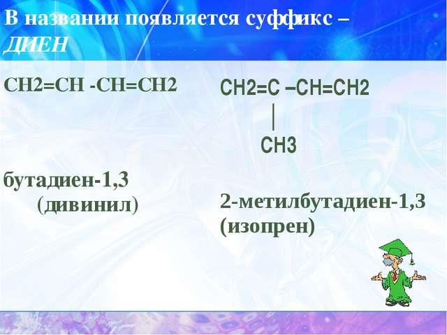 В названии появляется суффикс – ДИЕН СН2=СН-СН=СН2 бутадиен-1,3 (дивинил) СН2...