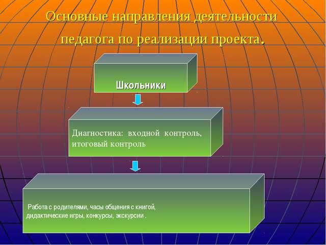 Основные направления деятельности педагога по реализации проекта. Школьники...