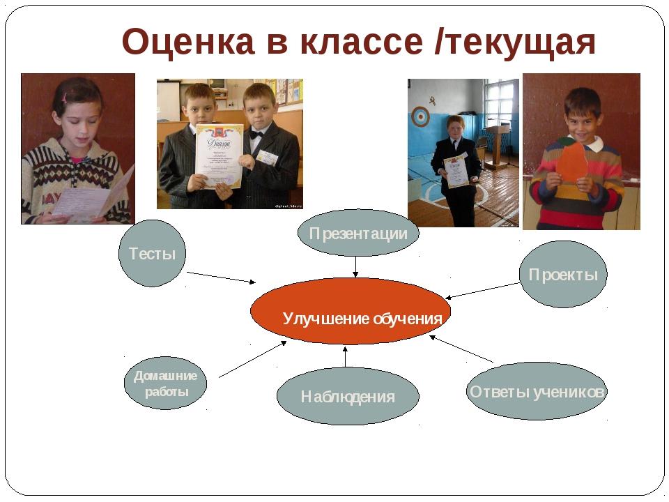 Оценка в классе /текущая Улучшение обучения Тесты Домашние работы Проекты Пре...