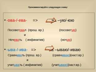 Прокомментируйте следующую схему: -ова-/-ева- => на –ую/-юю Посоветовал (про