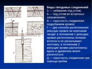 Виды гвоздевых соединений: А — забивание под углом; Б — под углом во встречны