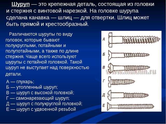 Шуруп — это крепежная деталь, состоящая из головки и стержня с винтовой наре...