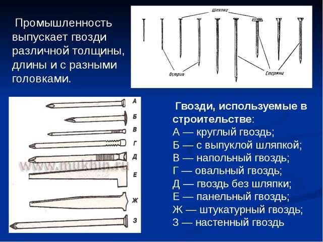 Промышленность выпускает гвозди различной толщины, длины и с разными головка...