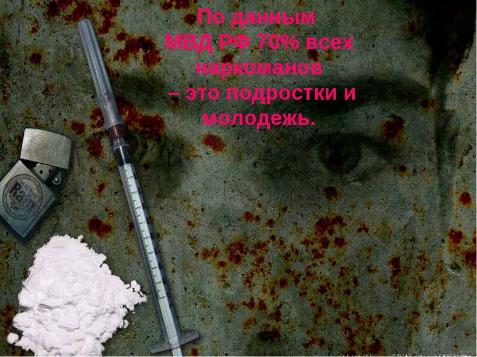 По данным МВД РФ 70% всех наркоманов – это подростки и молодежь.