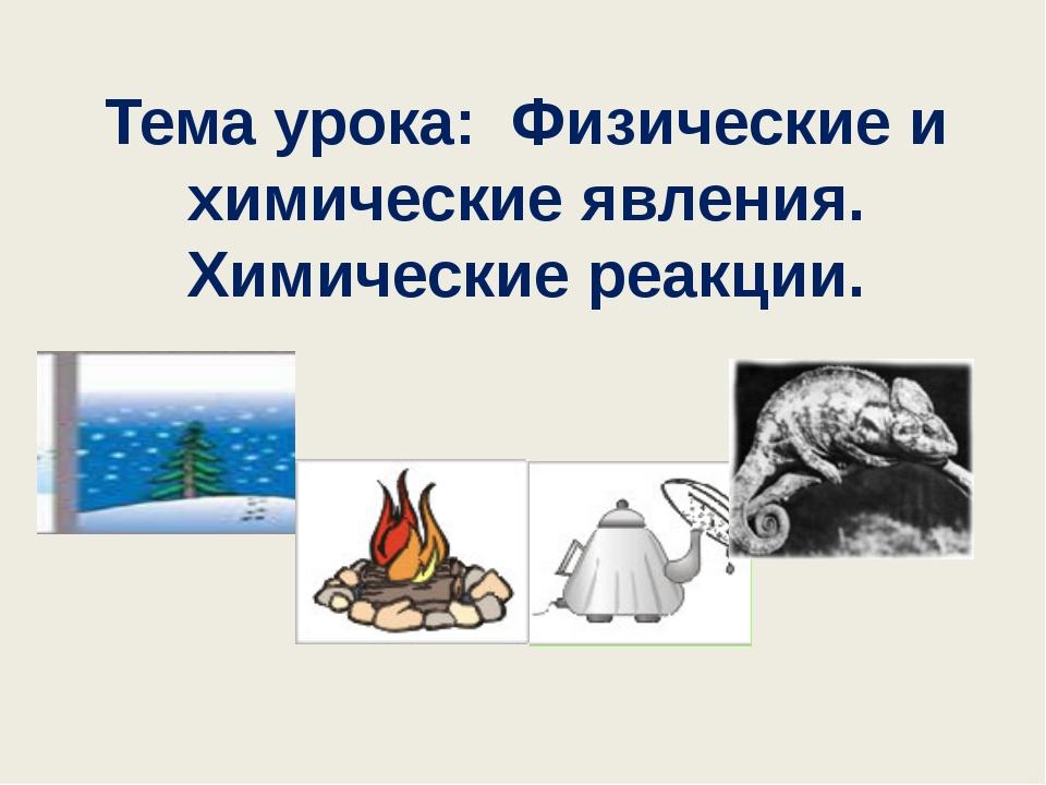 Тема урока: Физические и химические явления. Химические реакции.