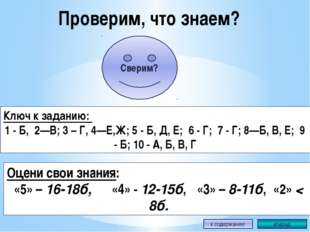 Проверим, что знаем? Ключ к заданию: 1 - Б, 2—В; 3 – Г, 4—Е,Ж; 5 - Б, Д, Е; 6