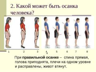 2. Какой может быть осанка человека? При правильной осанке – спина прямая, го