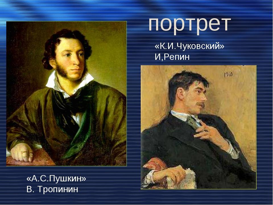 «А.С.Пушкин» В. Тропинин «К.И.Чуковский» И,Репин портрет