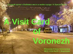 A Visit Card of Voronezh Сетевой проект «Любимое место в моём городе / A Spec