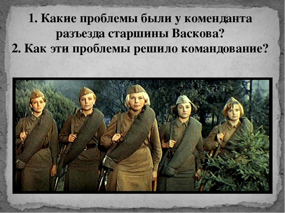 1. Какие проблемы были у коменданта разъезда старшины Васкова? 2. Как эти про...
