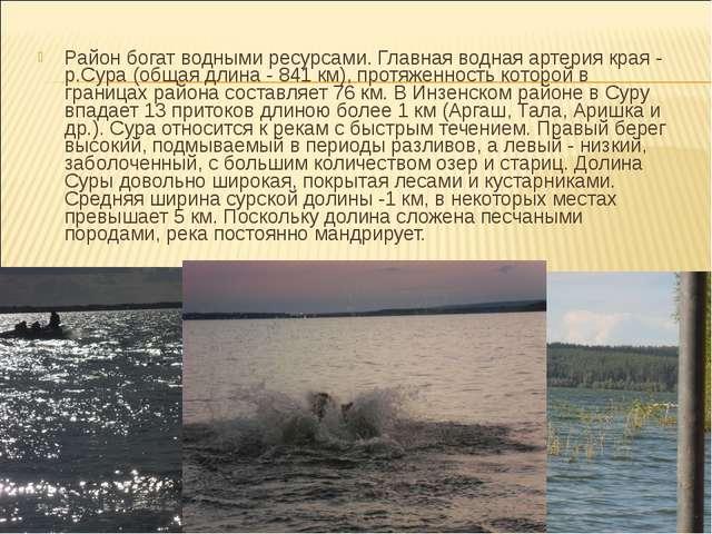 Район богат водными ресурсами. Главная водная артерия края - р.Сура (общая дл...