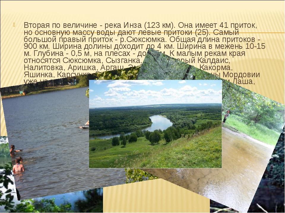 Вторая по величине - река Инза (123 км). Она имеет 41 приток, но основную мас...