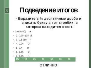 Подведение итогов Выразите в % десятичные дроби и вписать букву в тот столбик