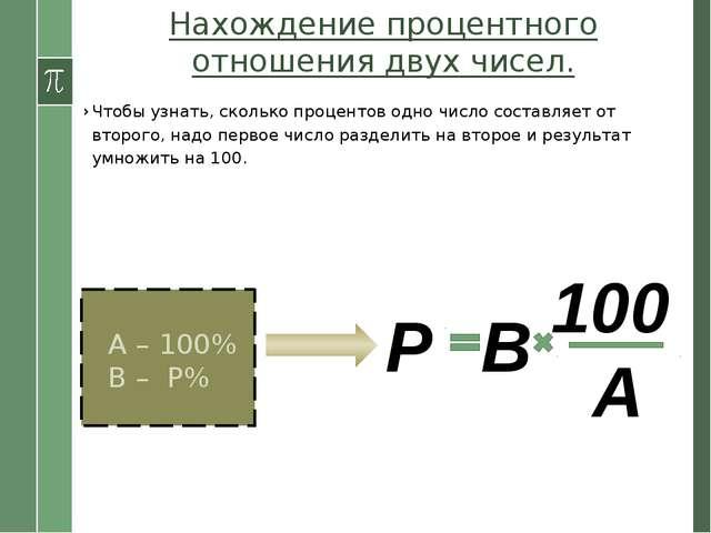 Нахождение процентного отношения двух чисел. Чтобы узнать, сколько процентов...