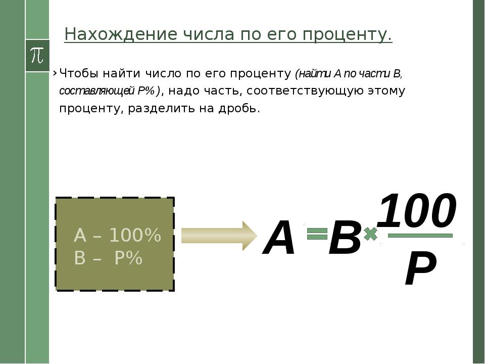 Нахождение числа по его проценту. Чтобы найти число по его проценту (найти А...