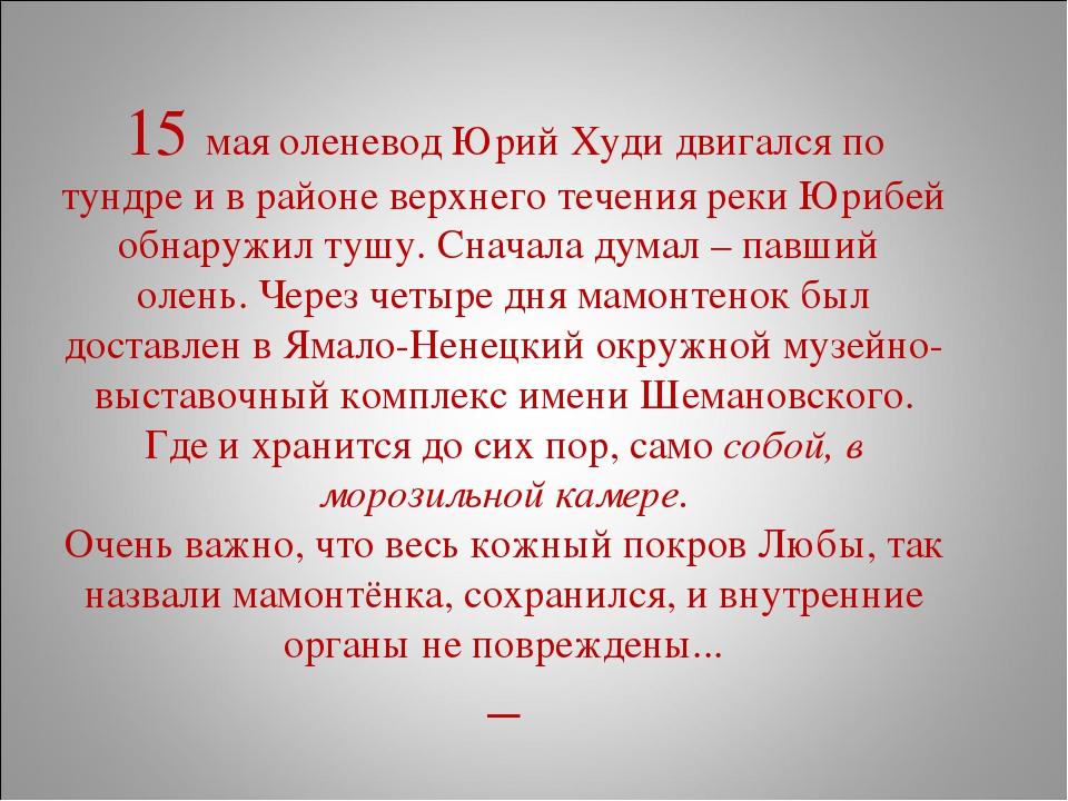 15 мая оленевод Юрий Худи двигался по тундре и в районе верхнего течения рек...