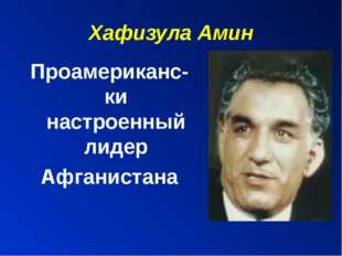 Хафизула Амин Проамериканс-ки настроенный лидер Афганистана