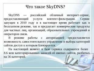Что такое SkyDNS? SkyDNS — российский облачный интернет-сервис, предоставляю