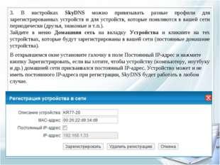 3. В настройках SkyDNS можно привязывать разные профили для зарегистрированны