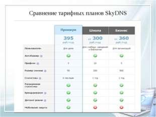 Сравнение тарифных планов SkyDNS