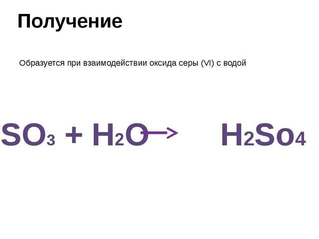 Получение Образуется при взаимодействии оксида серы (VI) c водой SO3 + H2O H2...