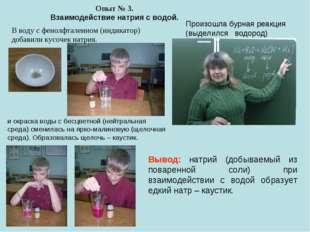 Опыт № 3. Взаимодействие натрия с водой. Произошла бурная реакция (выделился