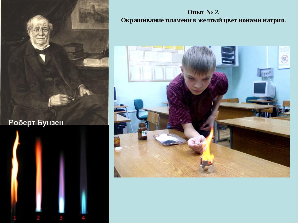Роберт Бунзен Опыт № 2. Окрашивание пламени в желтый цвет ионами натрия.