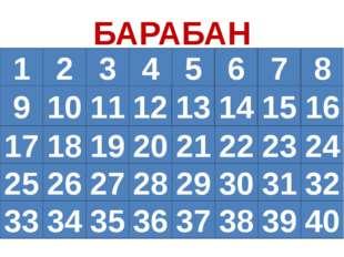 БАРАБАН 1 2 5 6 7 8 3 4 9 10 11 12 13 14 15 16 20 21 22 23 24 19 18 17 25 32