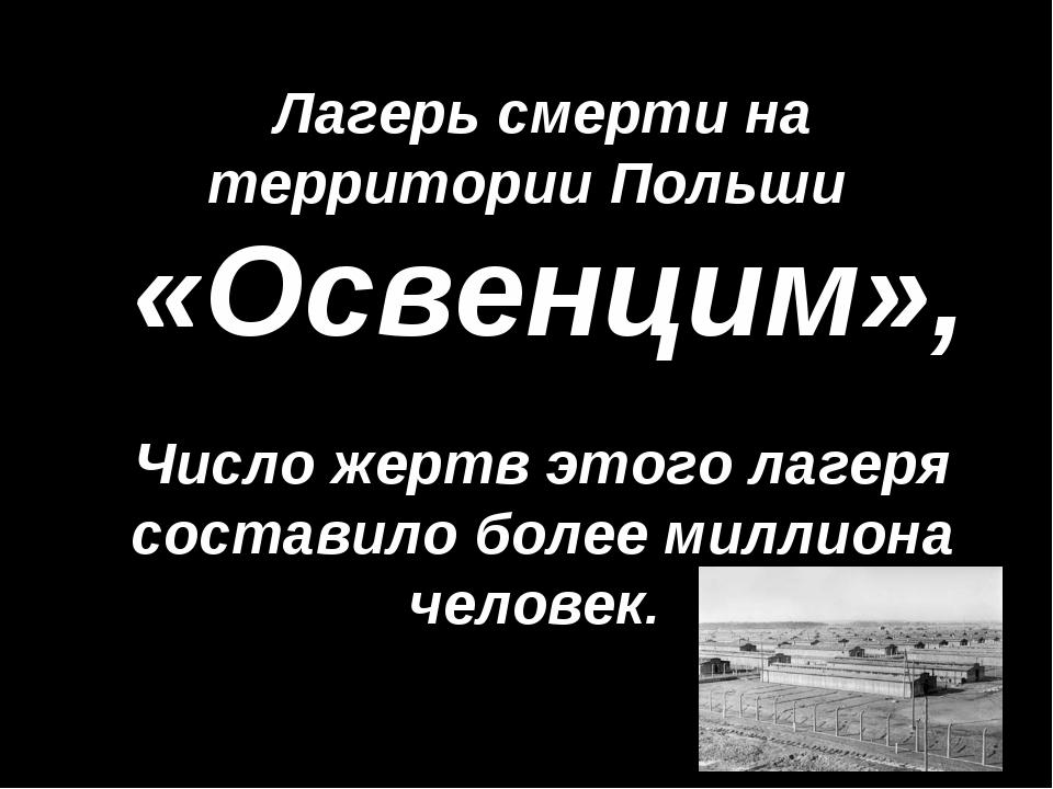 «Освенцим», Лагерь смерти на территории Польши Число жертв этого лагеря соста...