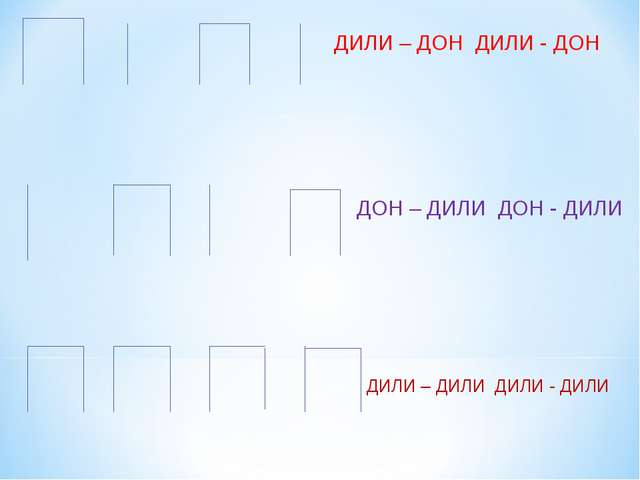 ДИЛИ – ДОН ДИЛИ - ДОН ДОН – ДИЛИ ДОН - ДИЛИ ДИЛИ – ДИЛИ ДИЛИ - ДИЛИ