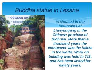 Buddha statue in Lesane Is situated in the mountains of Lianyungang in the Ch