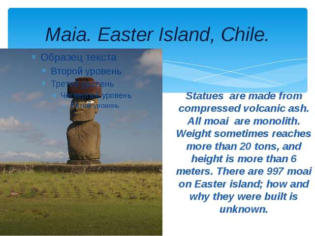 Maia. Easter Island, Chile. Statues are made from compressed volcanic ash. Al...