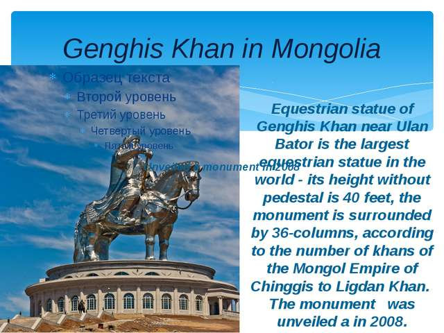 Genghis Khan in Mongolia Equestrian statue of Genghis Khan near Ulan Bator is...