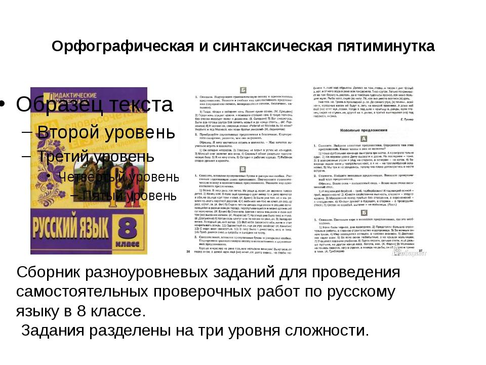 Орфографическая и синтаксическая пятиминутка Сборник разноуровневых заданий д...