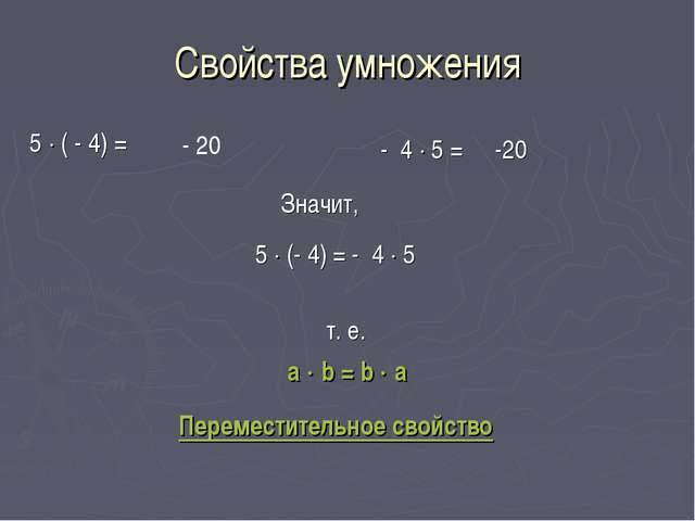 Свойства умножения 5  ( - 4) = - 20 - 4  5 = -20 Значит, 5  (- 4) = - 4 ...