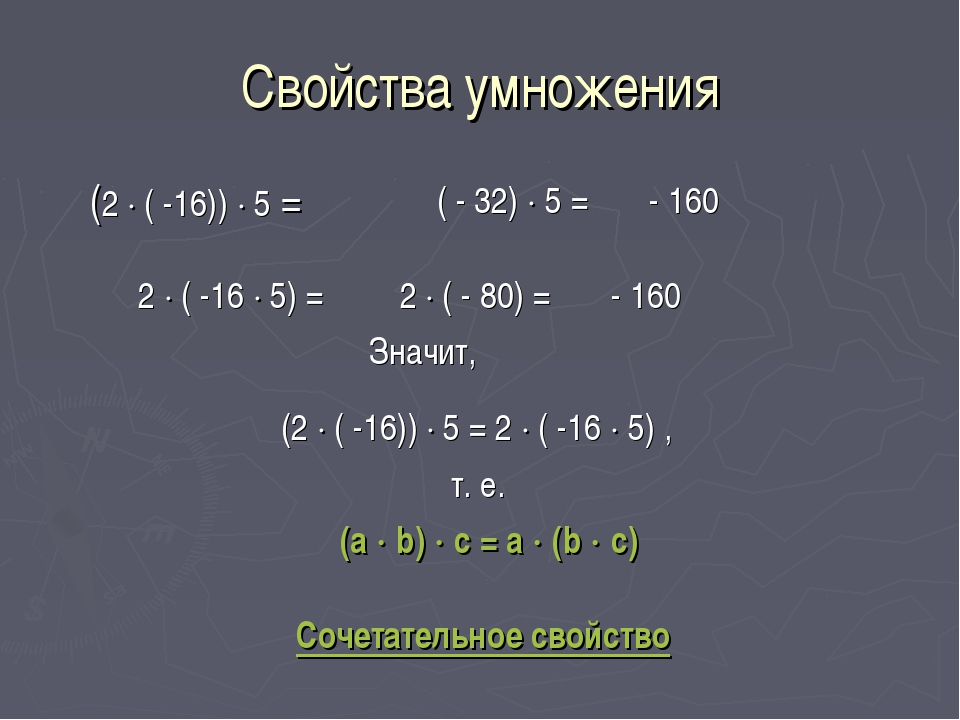 Свойства умножения (2  ( -16))  5 = ( - 32)  5 = - 160 2  ( -16  5) = 2...