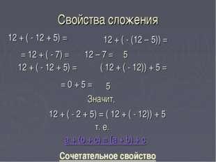Свойства сложения 12 + ( - 12 + 5) = 12 + ( - (12 – 5)) = = 12 + ( - 7) = 12