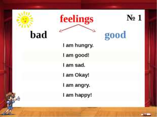 bad good feelings № 1 Iam hungry. Iam good! Iam sad. Iam Okay! I am angry. I