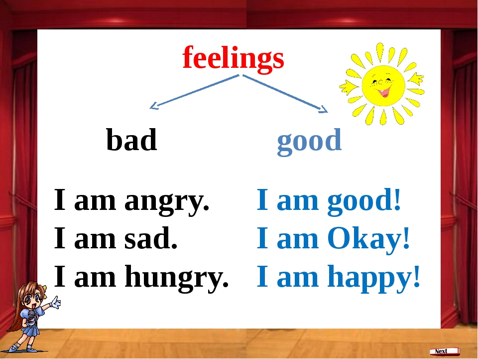 bad good feelings I am good! I am Okay! I am happy! I am angry. I am sad. I a...