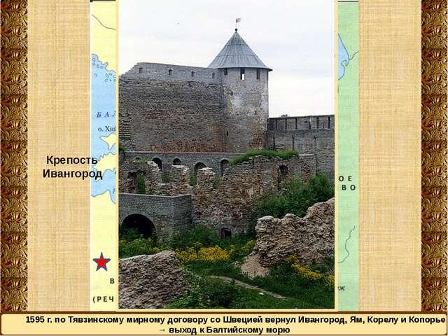1595 г. по Тявзинскому мирному договору со Швецией вернул Ивангород, Ям, Коре...