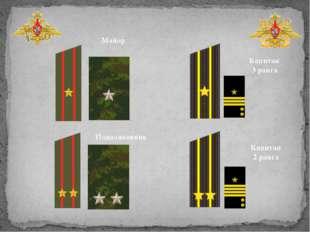 Подполковник Майор Капитан 3 ранга Капитан 2 ранга