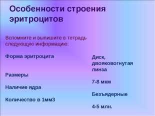 Особенности строения эритроцитов Вспомните и выпишите в тетрадь следующую инф