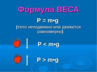 Формула ВЕСА Р = m•g (тело неподвижно или движется равномерно) Р < m•g Р > m•g